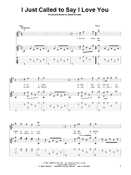 Tablature guitare I Just Called To Say I Love You de Stevie Wonder - Tablature Guitare
