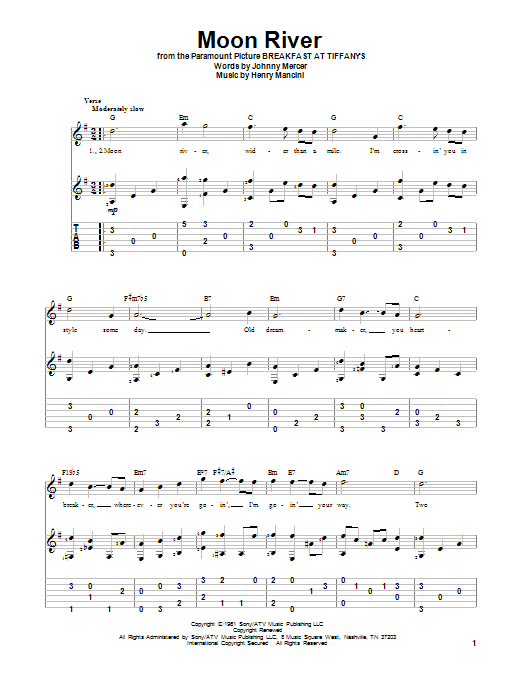 Tablature guitare Moon River de Henry Mancini - Tablature Guitare