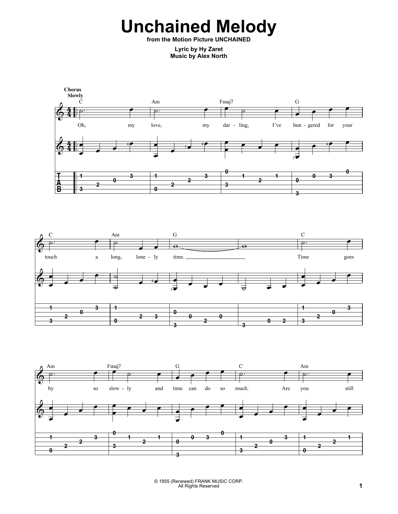 Tablature guitare Unchained Melody de The Righteous Brothers - Tablature Guitare