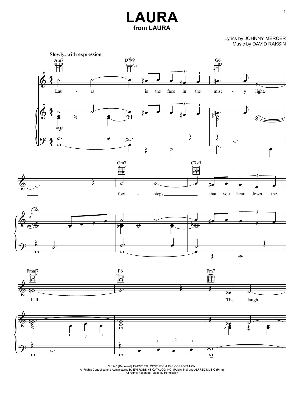 Partition piano Laura de Frank Sinatra - Piano Voix Guitare (Mélodie Main Droite)
