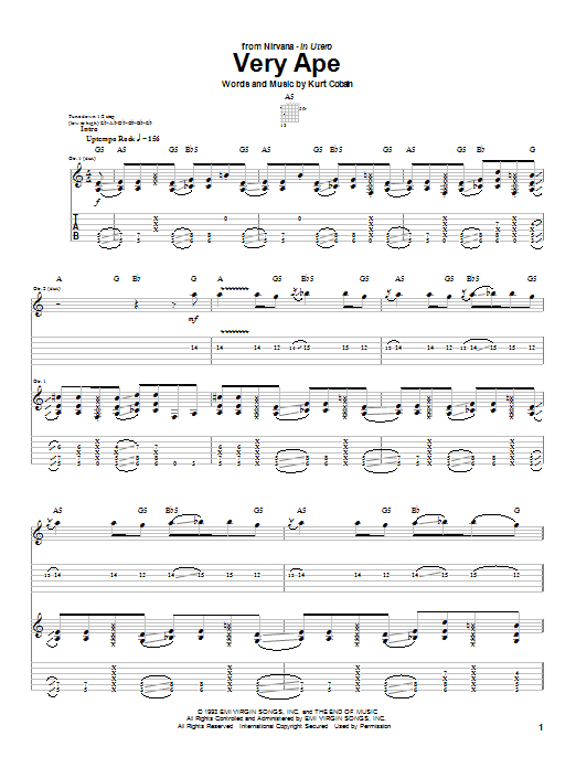Tablature guitare Very Ape de Nirvana - Tablature Guitare