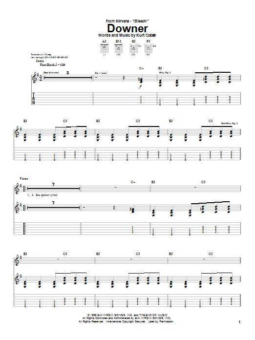 Tablature guitare Downer de Nirvana - Tablature Guitare
