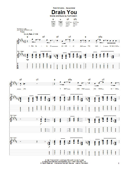 Tablature guitare Drain You de Nirvana - Tablature Guitare