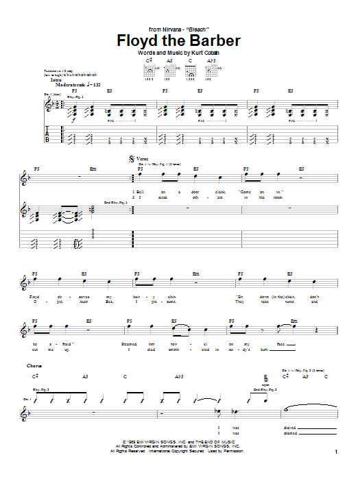 Tablature guitare Floyd The Barber de Nirvana - Tablature Guitare