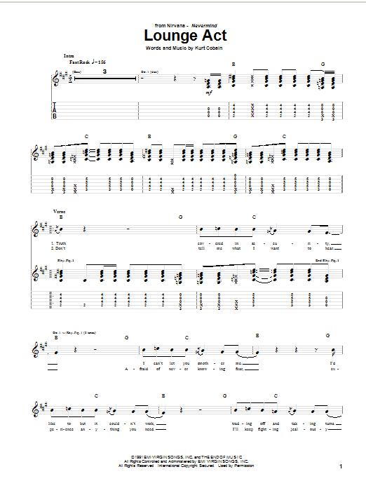 Tablature guitare Lounge Act de Nirvana - Tablature Guitare