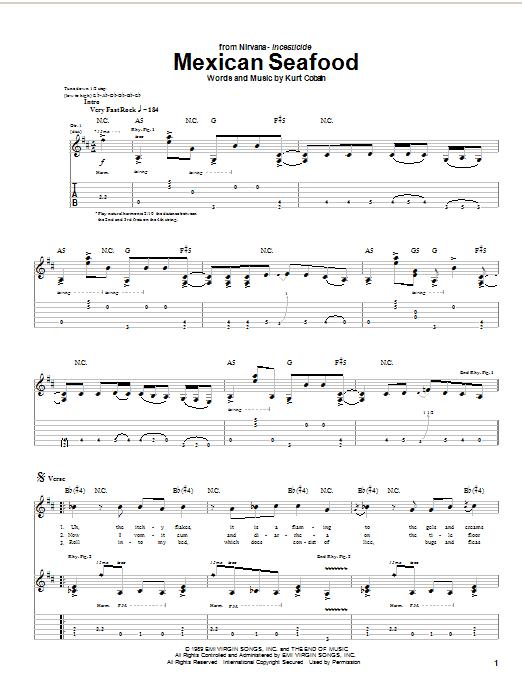 Tablature guitare Mexican Seafood de Nirvana - Tablature Guitare
