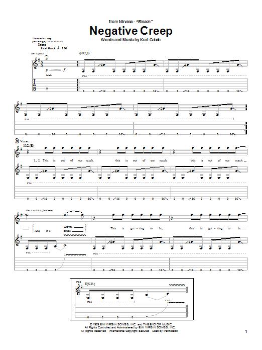 Tablature guitare Negative Creep de Nirvana - Tablature Guitare
