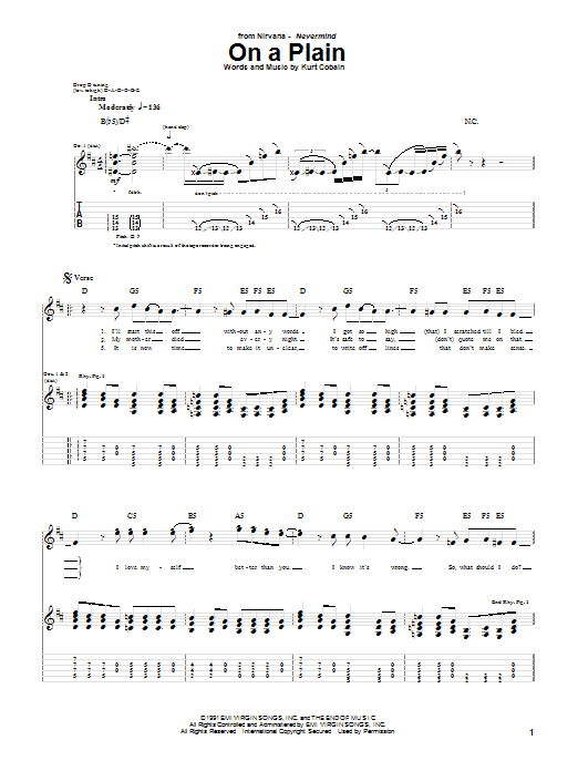 Tablature guitare On A Plain de Nirvana - Tablature Guitare