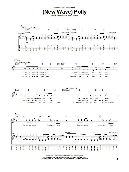 Tablature guitare (New Wave) Polly de Nirvana - Tablature Guitare