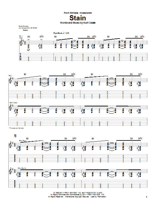Tablature guitare Stain de Nirvana - Tablature Guitare