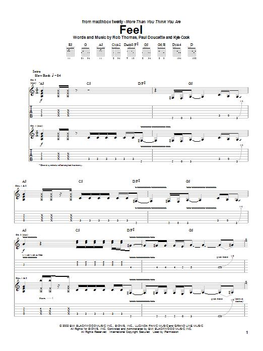 Tablature guitare Feel de Matchbox Twenty - Tablature Guitare
