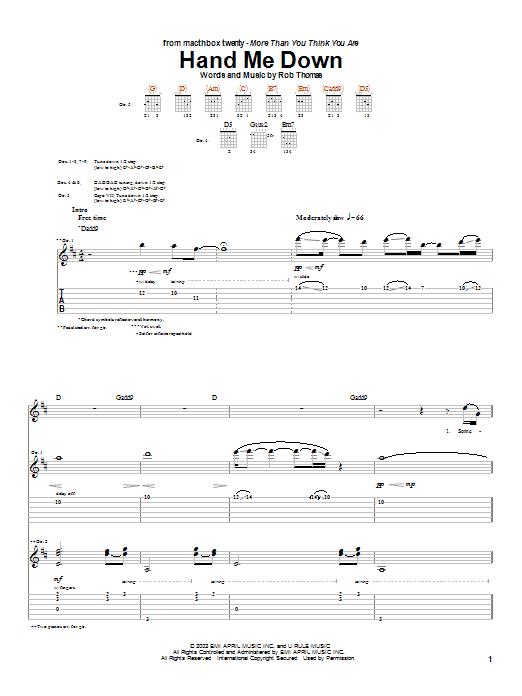 Tablature guitare Hand Me Down de Matchbox Twenty - Tablature Guitare