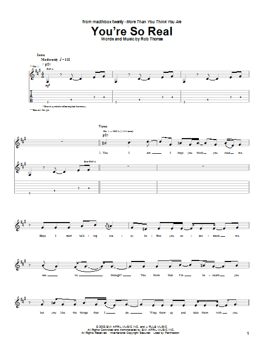 Tablature guitare You're So Real de Matchbox Twenty - Tablature Guitare