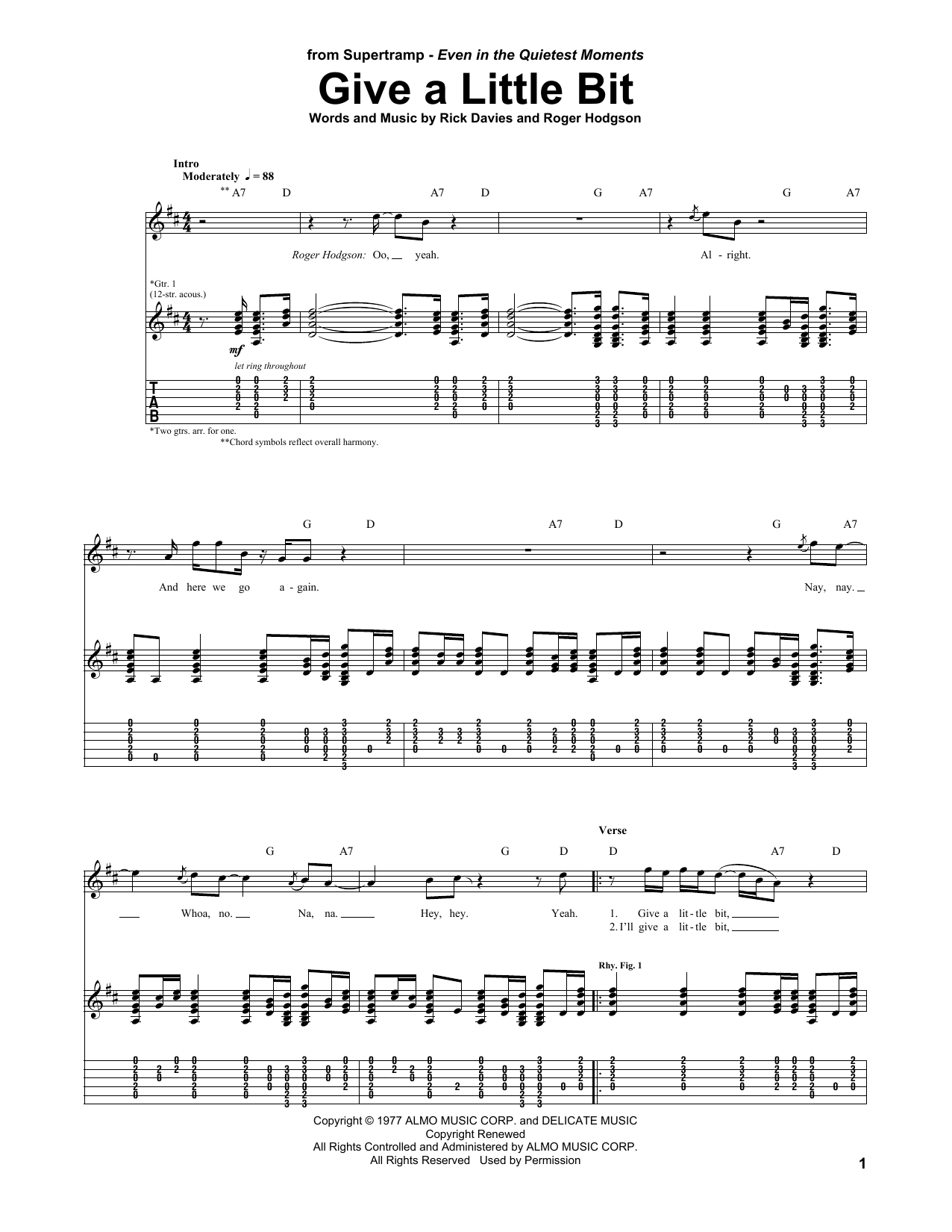 Tablature guitare Give A Little Bit de Supertramp - Tablature Guitare