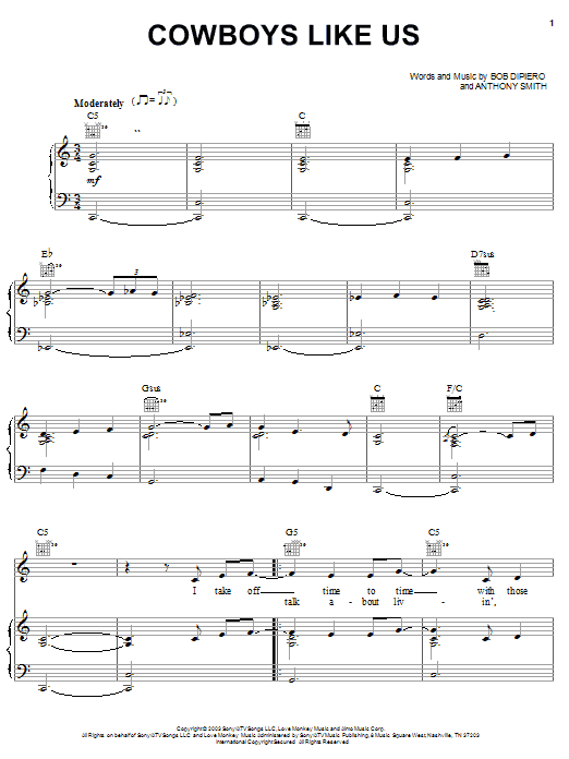 Cowboys Like Us sheet music for voice, piano or guitar by Bob DiPiero