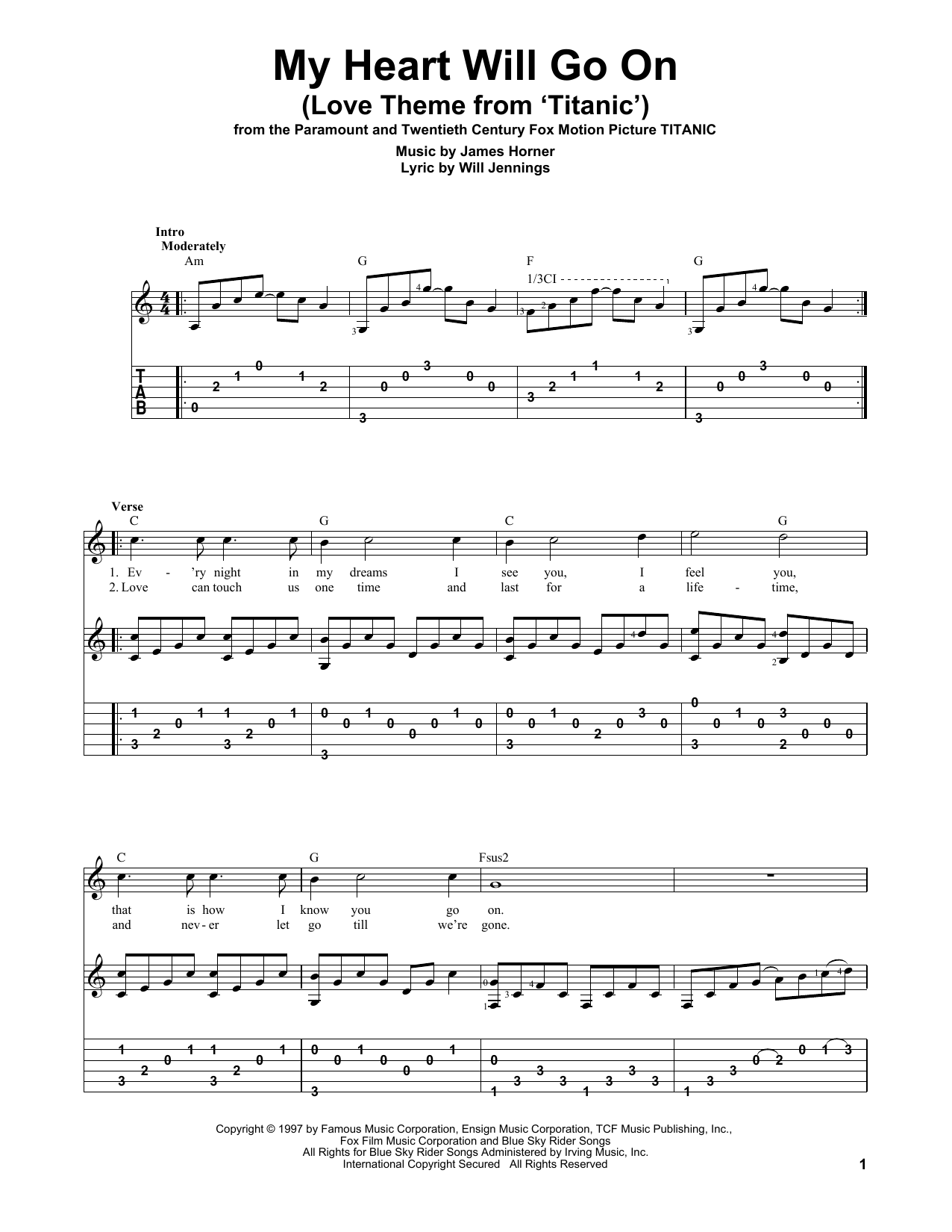 My Heart Will Go On (Love Theme from Titanic) Guitar Tab by Celine ...