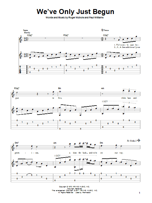 Tablature guitare We've Only Just Begun de Carpenters - Tablature Guitare