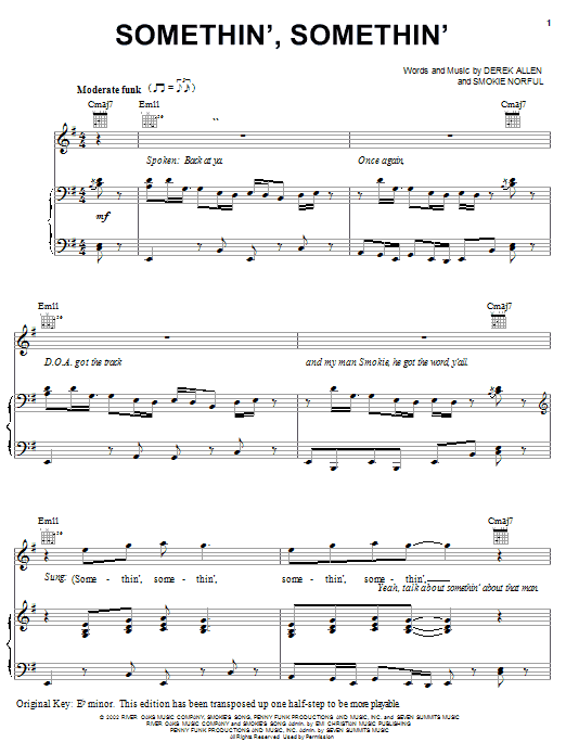 Somethin', Somethin' sheet music for voice, piano or guitar by Derek Allen