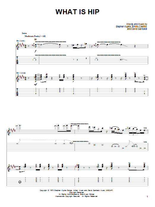 Tablature guitare What Is Hip de Tower Of Power - Tablature Guitare
