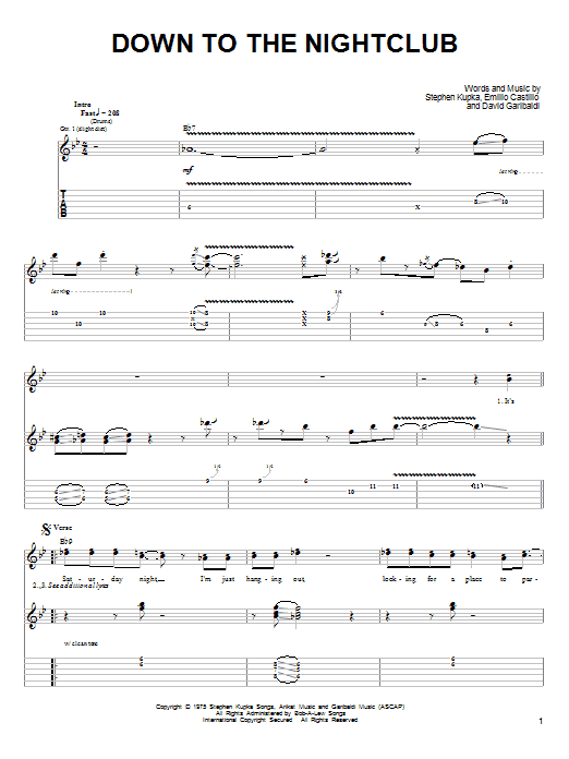 Tablature guitare Down To The Nightclub de Tower Of Power - Tablature Guitare