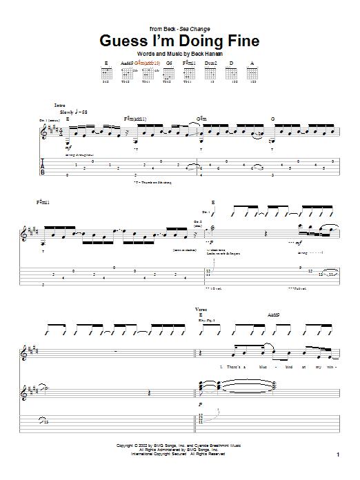 Tablature guitare Guess I'm Doing Fine de Beck - Tablature Guitare
