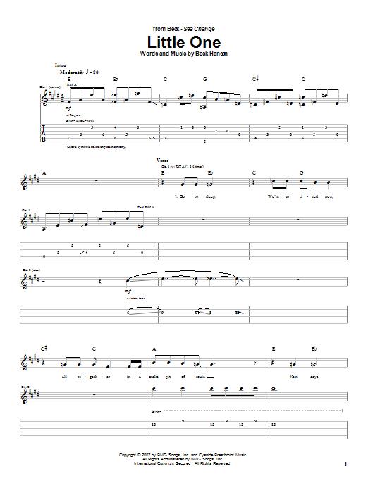 Tablature guitare Little One de Beck - Tablature Guitare