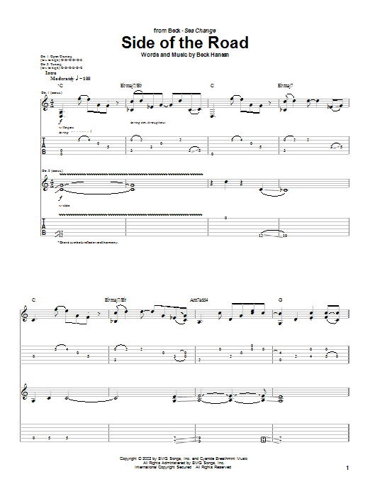 Tablature guitare Side Of The Road de Beck - Tablature Guitare