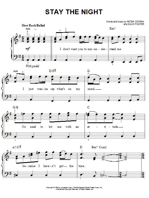 Partition piano Stay The Night de Chicago - Piano Facile