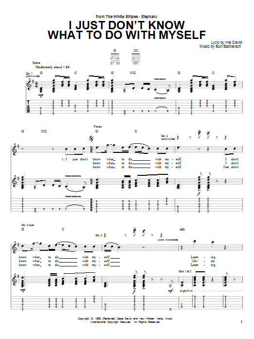 Tablature guitare I Just Don't Know What To Do With Myself de The White Stripes - Tablature Guitare