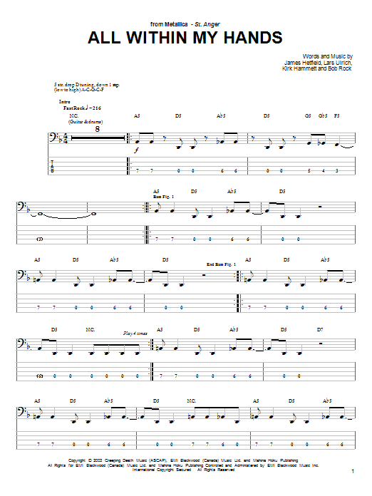 Tablature guitare All Within My Hands de Metallica - Tablature Basse