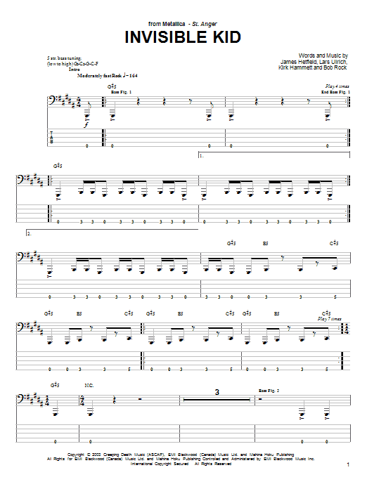Tablature guitare Invisible Kid de Metallica - Tablature Basse