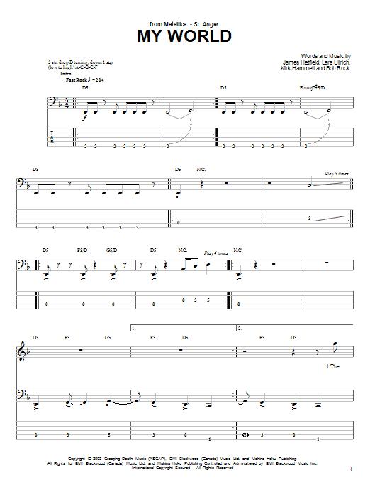 Tablature guitare My World de Metallica - Tablature Basse