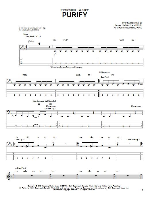 Tablature guitare Purify de Metallica - Tablature Basse