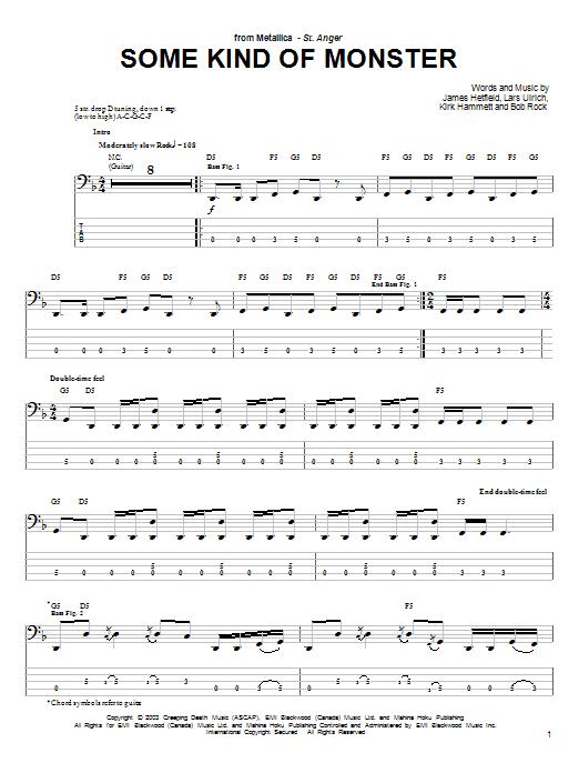 Tablature guitare Some Kind Of Monster de Metallica - Tablature Basse