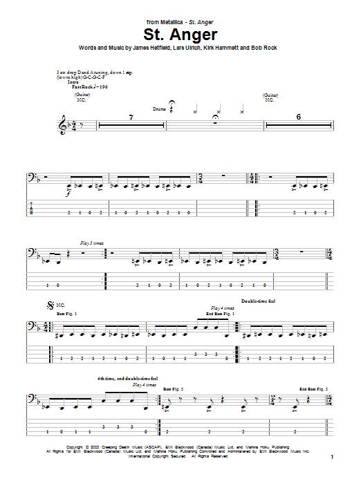 Tablature guitare St. Anger de Metallica - Tablature Basse