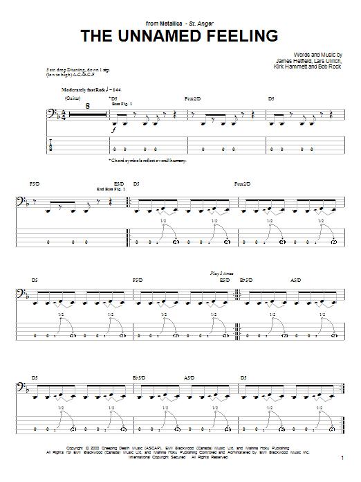 Tablature guitare The Unnamed Feeling de Metallica - Tablature Basse