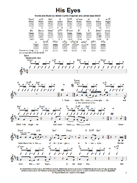Tablature guitare His Eyes de Steven Curtis Chapman - Autre
