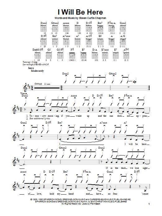 Tablature guitare I Will Be Here de Steven Curtis Chapman - Autre