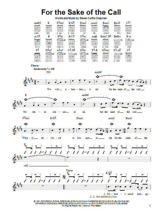 Tablature guitare For The Sake Of The Call de Steven Curtis Chapman - Autre