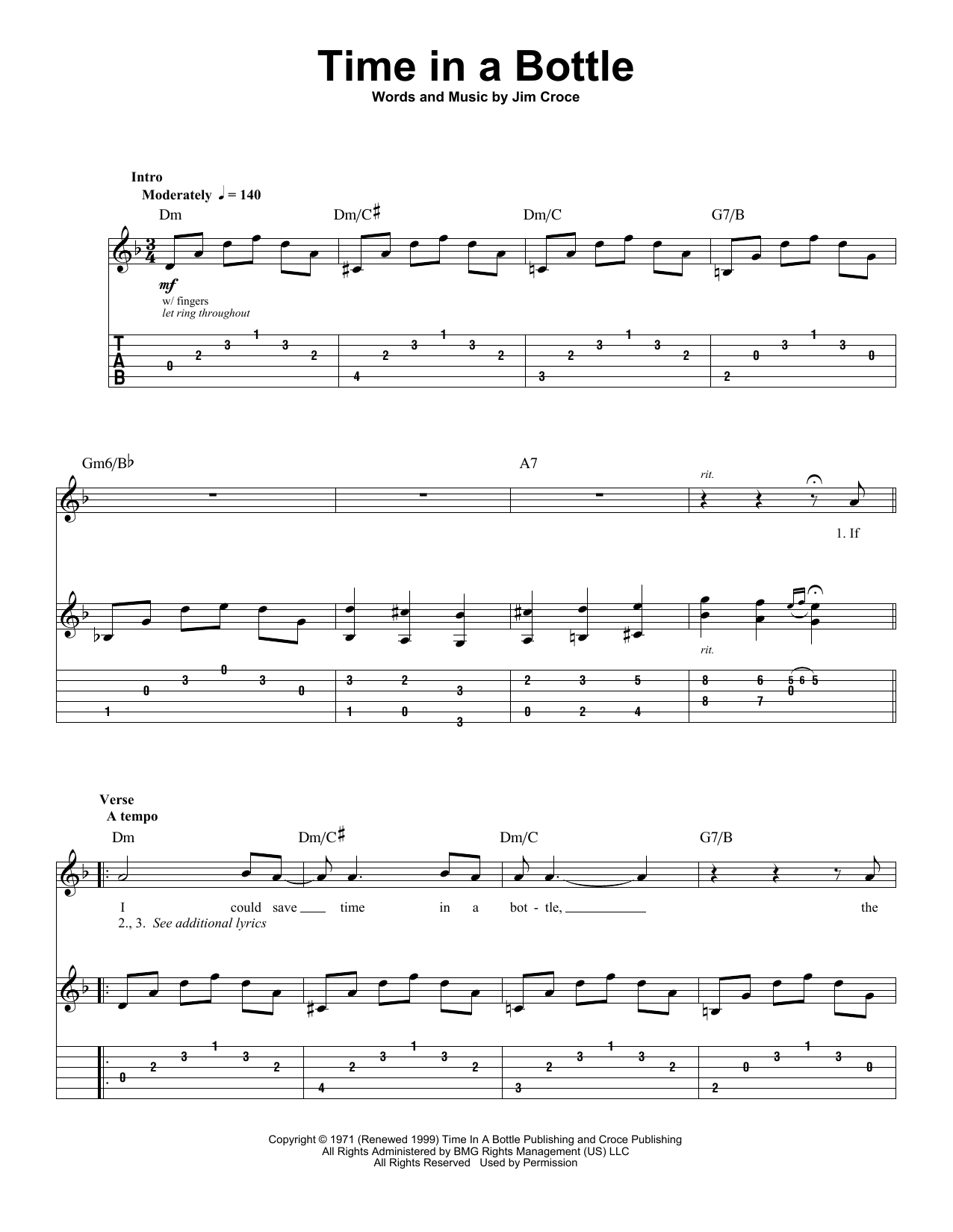 Tablature guitare Time In A Bottle de Jim Croce - Tablature Guitare