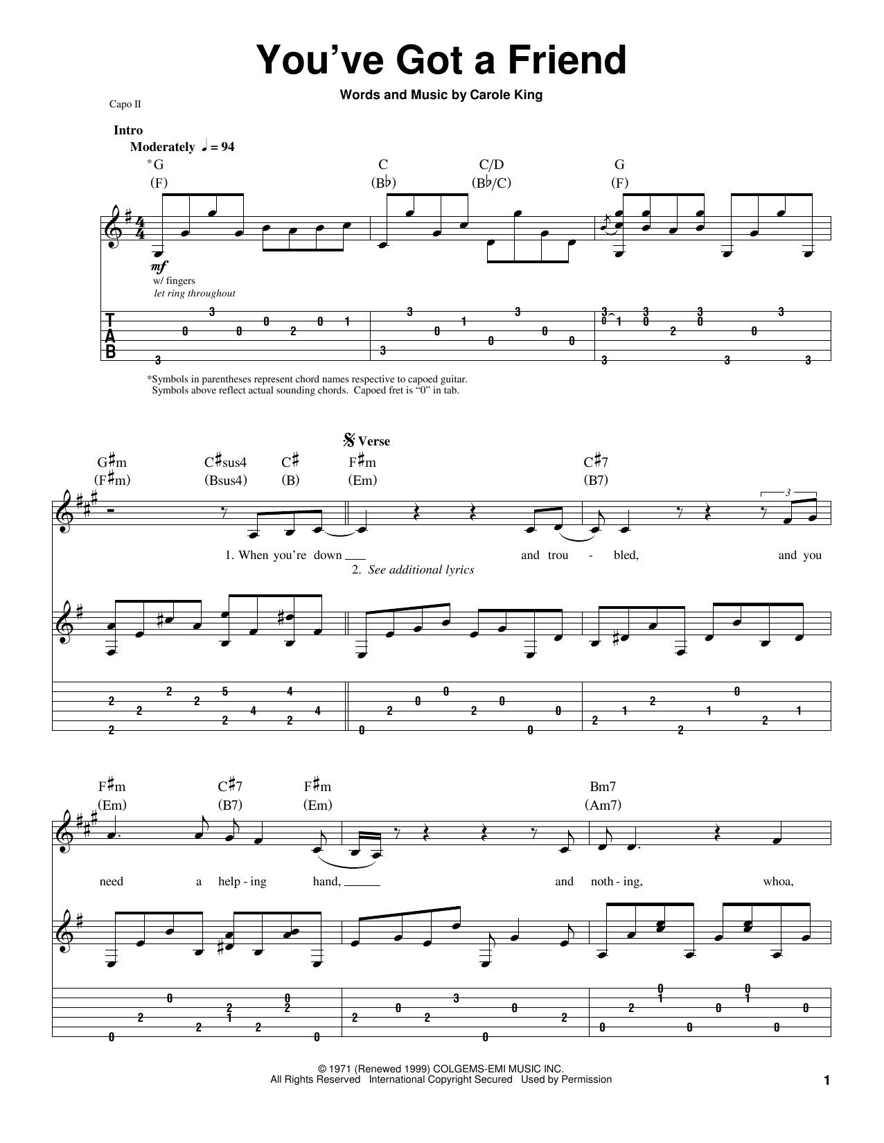 Tablature guitare You've Got A Friend de James Taylor - Tablature Guitare