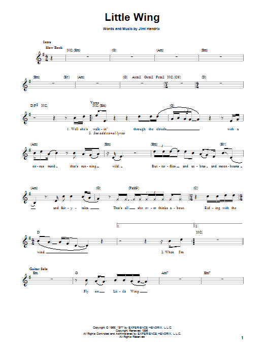 Sheet Music Digital Files To Print - Licensed Jimi Hendrix Digital ...