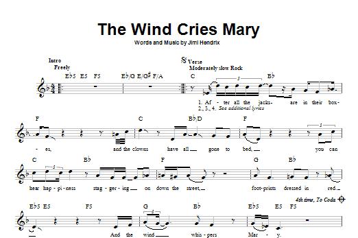 Tablature guitare The Wind Cries Mary de Jimi Hendrix - Tablature guitare facile