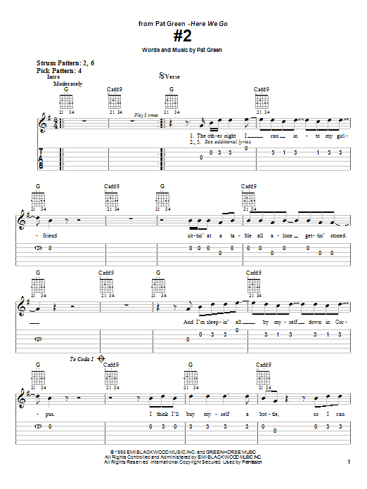 #2 sheet music for guitar solo (easy tablature) by Pat Green