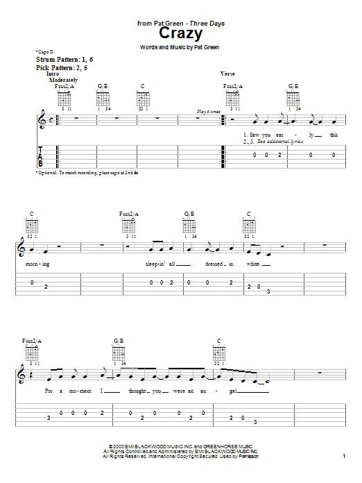 Tablature guitare Crazy de Pat Green - Tablature guitare facile