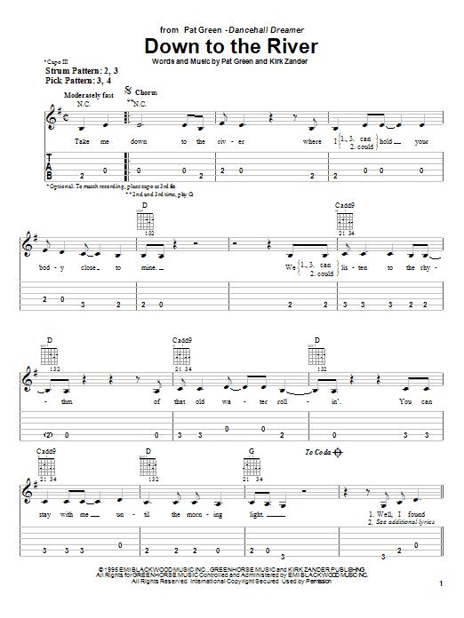 Tablature guitare Down To The River de Pat Green - Tablature guitare facile