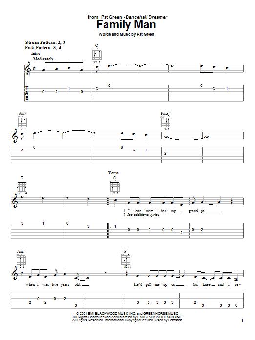 Tablature guitare Family Man de Pat Green - Tablature guitare facile