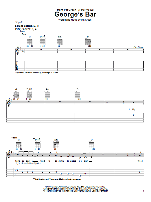Tablature guitare George's Bar de Pat Green - Tablature guitare facile