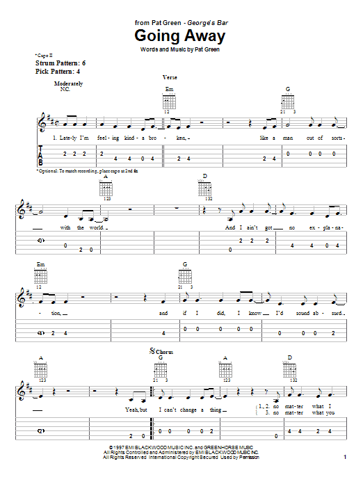 Tablature guitare Going Away de Pat Green - Tablature guitare facile