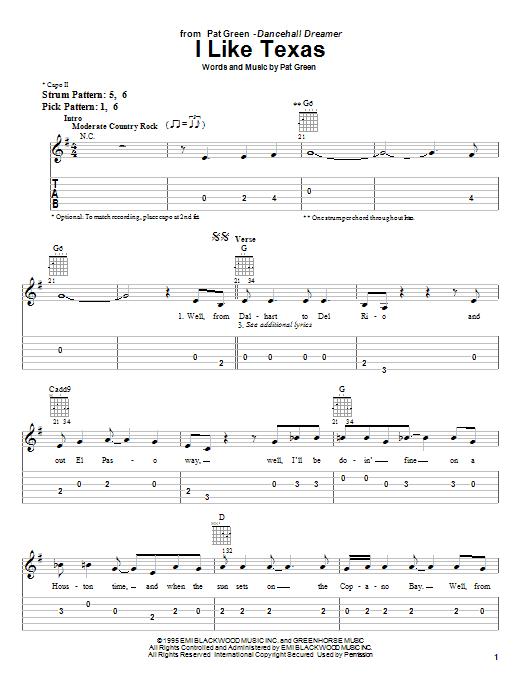 Tablature guitare I Like Texas de Pat Green - Tablature guitare facile